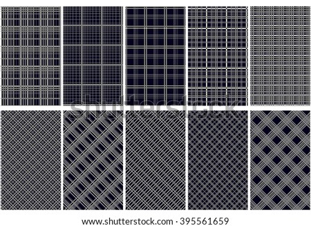 ten abstract seamless patterns blue and white colors horizontal vertical and diagonal lines
