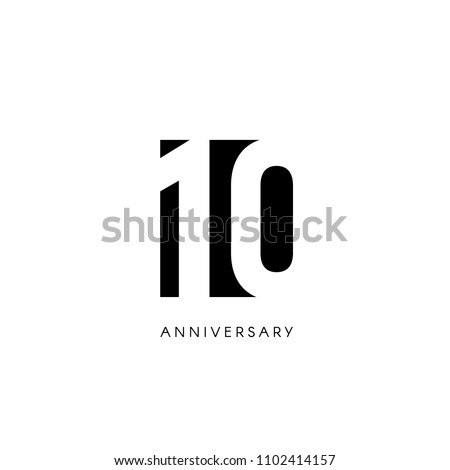 Ten anniversary, minimalistic logo. Tenth years, 10th jubilee, greeting card. Birthday invitation. 10 year sign. Black negative space vector illustration on white background Stock photo ©