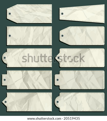 ten crumple  labels over green background, vector illustration