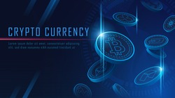 ten famous cryptocurrency coins 3D flying artwork with texts , Vector