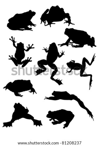 ten frog silhouettes
