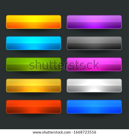 ten glossy shiny wide empty buttons design