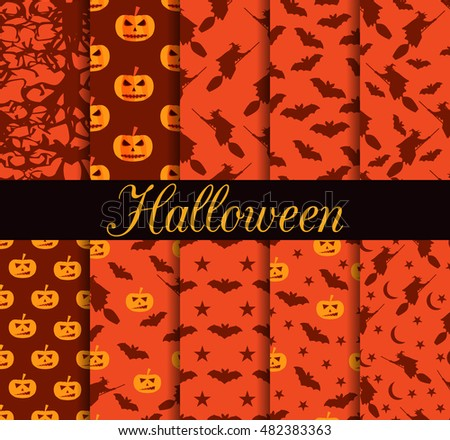 Ten Halloween seamless patterns. Pattern with Lamp Jack, witch with bats.Halloween symbols. For wallpaper, bed linen, tiles, fabrics, backgrounds. Vector illustration.