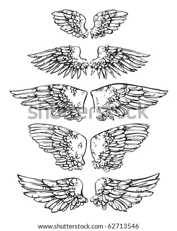 Ten ink sketches united in 5 pairs of wings