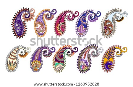 ten isolated bright paisley with ornate pattern