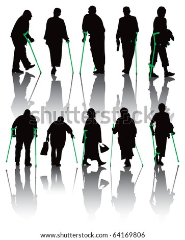 Ten old and disabled people silhouettes. Vector illustration with shadows on white background.