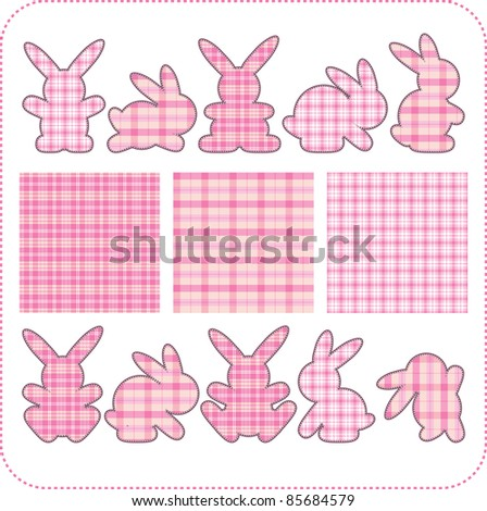 Ten pink rabbits. Beautiful elements for scrapbook, greeting cards