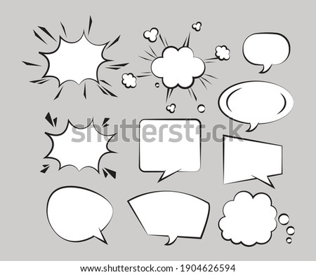 ten retro speech bubbles drawn pop art style vector illustration design