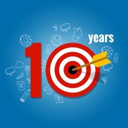 ten years target and plan in business calendar list of achievement
