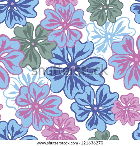 Tender and elegance  hand drawn flowers seamless pattern in blue and pink. Flowers texture