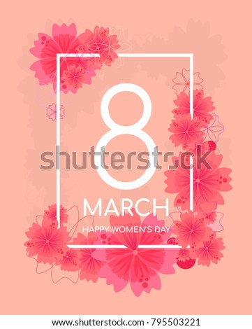 Tender peach color floral greeting card for 8 March, happy women's day, mother's day. Rectangular frame with warm pink flowers on peach background. Spring greeting card with place for text