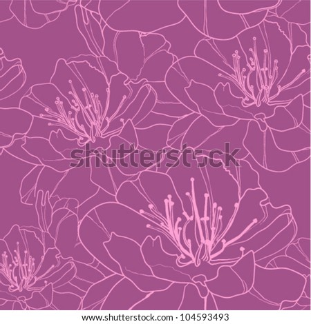 Tender seamless floral background with pink outlined flowers. (vector)