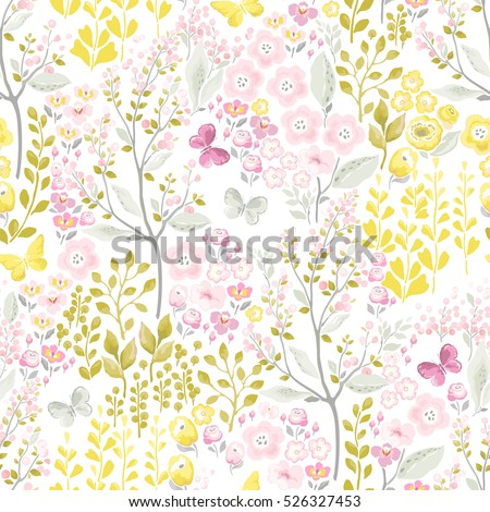 Stock Photo Tender seamless pattern with flowers and flying butterflies. Vector spring illustration in vintage style.