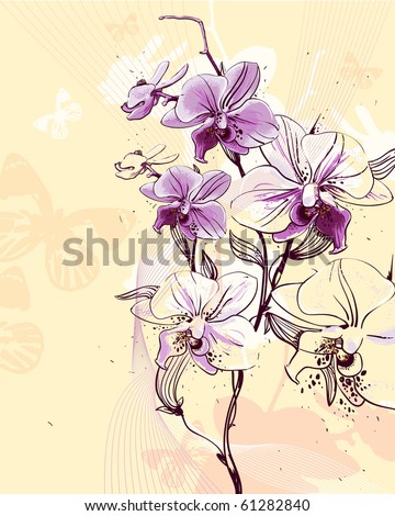 tender twig blossoming orchids on a light background with butterflies