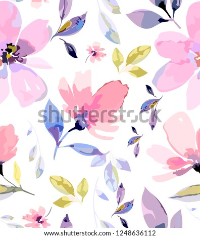 Tender watercolour vector pattern with cute pink flowers. Light seamless texture with gradient flowers in hand painting style.