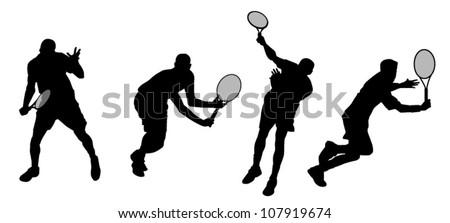 tennis athletes silhouettes