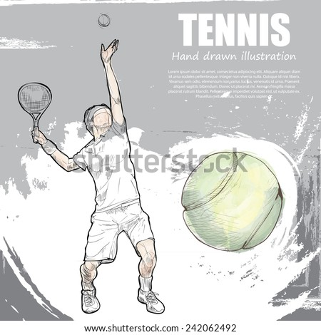 Tennis background Design Hand drawn