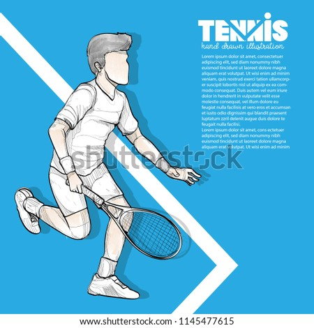 Tennis background design with illustration of tennis player. sport background.