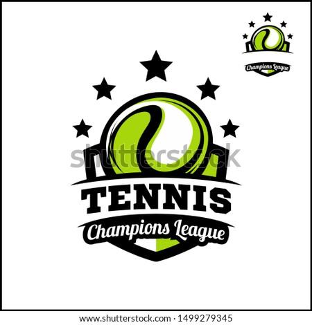 Tennis badge champions league logo vector