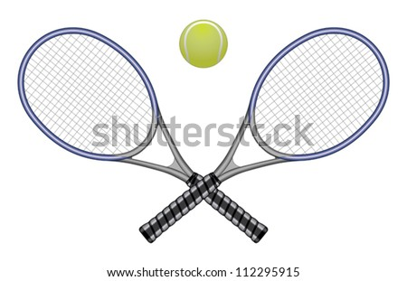 Tennis Ball & Rackets is an illustration of a tennis ball and two crossed rackets. Great for logo designs and t-shirts.
