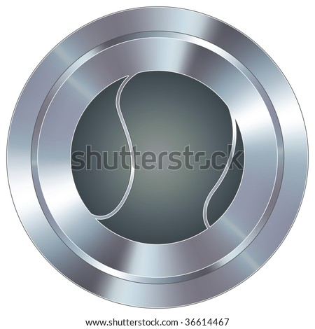 Tennis ball sport icon on round stainless steel modern industrial button - stock vector
