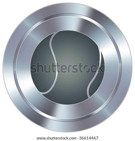 Tennis ball sport icon on round stainless steel modern industrial button
