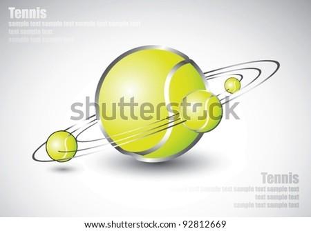 tennis balls shaped like solar system - vector illustration - stock vector