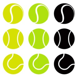 Tennis balls, silhouette vector illustration