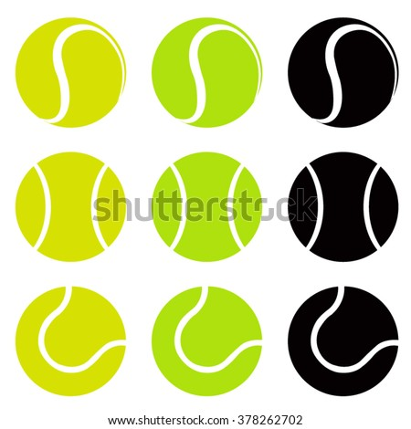 Tennis balls, silhouette vector illustration