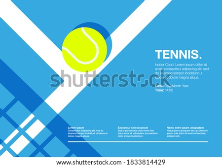 Tennis Championship and Tournament Landscape Poster. Indoor, Blue, Indoor Court. Ball on the Line. Net Shadow on floor. Close up. Flat, Simple, Retro style - Vector
