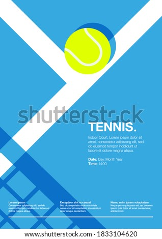 Tennis Championship and Tournament Poster. Indoor, Blue, Court. Ball on the Line. Net Shadow on floor. Close up. Flat, Simple, Retro style - Vector Сток-фото ©