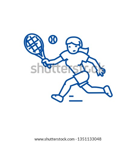 Tennis championship,woman  line icon concept. Tennis championship,woman  flat  vector symbol, sign, outline illustration.
