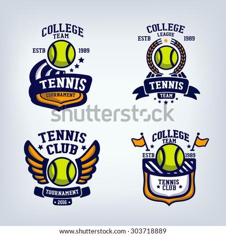 Tennis Club Emblem, College League Logo, One Color Design ...