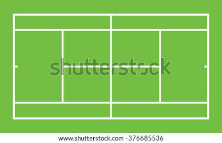 Tennis court . Top view . The exact proportions . Vector illustration