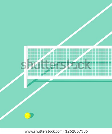 tennis court vector. tennis ball on court. tennis net vector
