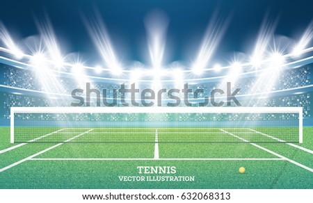 Tennis Court with Green Grass and Spotlights. Vector Illustration.