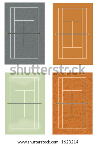 tennis courts: hard, clay, grass, synthetic