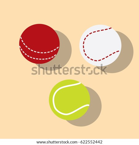 Tennis, cricket and baseball ball icons, vector illustration design. Sport objects collection.