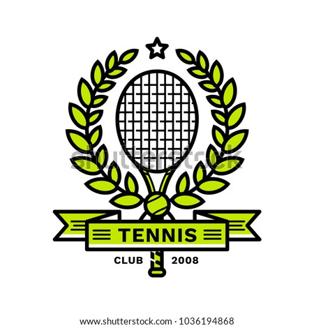 Tennis emblem, illustration, logotype, modern line style, green color, on a white background. A tennis racket framed by a laurel wreath with a star on top and a tennis ball and a ribbon at the bottom.
