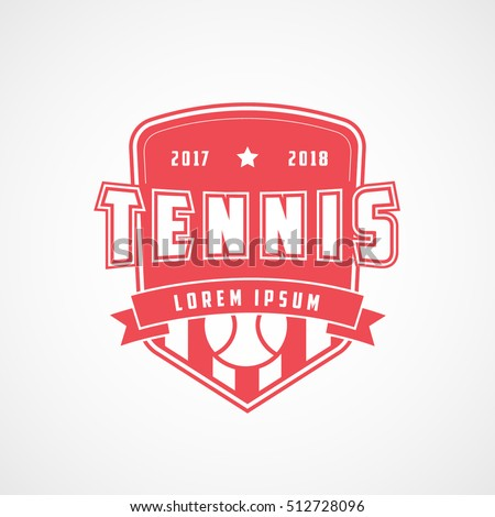 Tennis Emblem Red Flat Icon On White Background