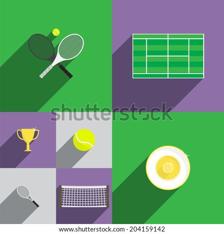 tennis icon set in flat style
