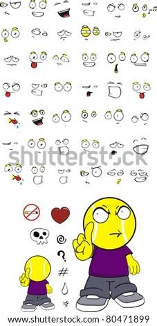 tennis kid cartoon set in vector format - stock vector