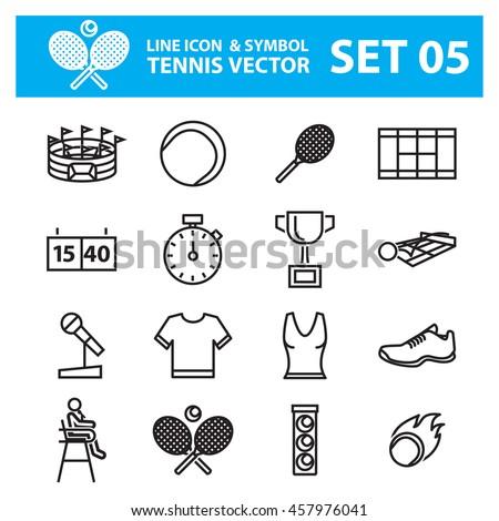 Tennis line icons vector set
