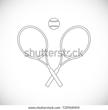 tennis outline icon - racket with ball