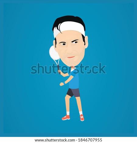 tennis player caricature