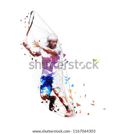Tennis player low poly vector illustration. Isolated adult man in white shirt and blue shorts playing tennis. Individual summer sport. Active people