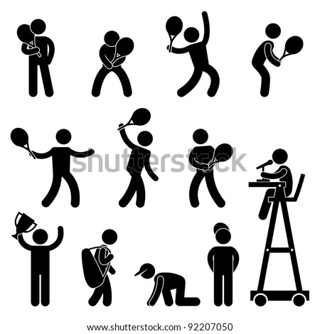 Tennis Player Serve Stroke Ball Boy Line Judge Umpire Referee Champion Icon Sign Pictogram