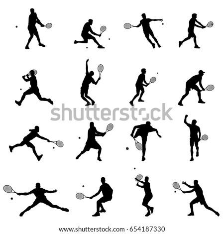 tennis player set of sixteen