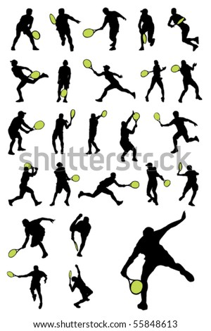 Tennis player silhouettes
