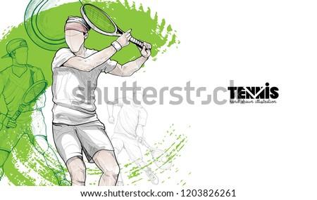 tennis player vector illustration. sport background design. tennis wallpaper